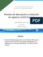 Revisión de descripcion e indizacion de registros LILACS-EXPRESS