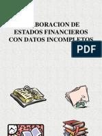 Presentación datos incompletos