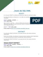 Sintaxis para MySQL