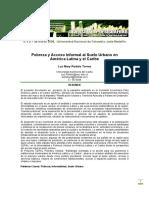 Pobreza y Acceso Informal Al Suelo Urbano en América Latina