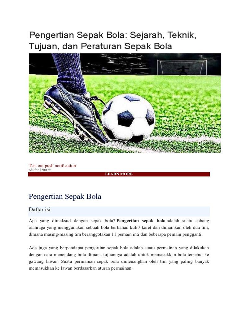 Pengertian Sepak Bola Sejarah Teknik Tujuan Dan Peraturan Sepak Bola
