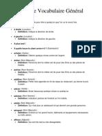 Liste de Vocabulaire General Francais