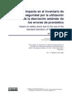 Impacto en el inventario de seguridad por la utilización de la desviación estándar de los errores de pronóstico