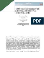 FATORES CRÍTICOS NO PROCESSO DE IMPLEMENTAÇÃO DO BSC NAS ORGANIZAÇÕES