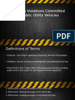 Common Violations Committed by Public Utility Vehicles