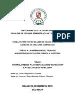 """CONTROL INTERNO A LA CUENTA CAJA EN """"DEVIES CORP S.A"""" DE LA CIUDAD DE MILAGRO.pdf"""