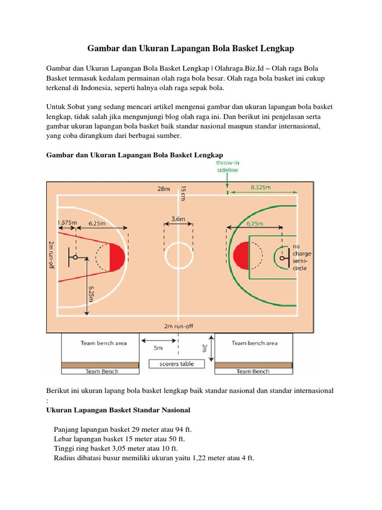 Gambar Lapangan Basket Lengkap Dengan Ukurannya
