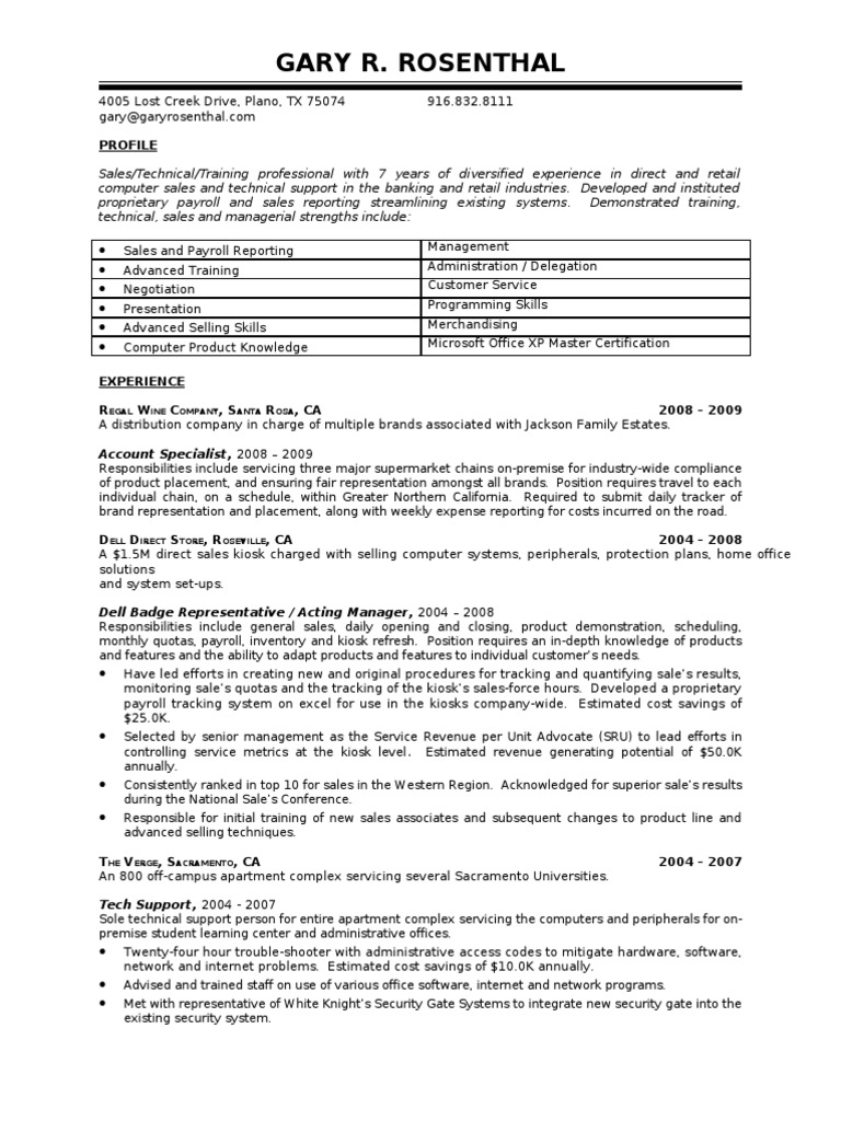 Garysresume technical support retail xflitez Image collections