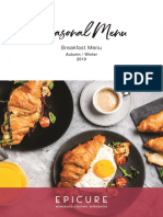 EPICURE Autumn Winter 2019 - Breakfast Menu