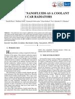 Nanofluids as a coolant in car radiator
