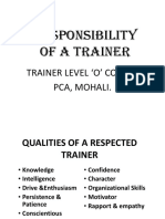 Role of Fitness Trainer.