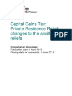 CGT PRR Changes to Ancillary Reliefs