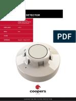 Coopers Datasheet Optical Smoke Detector