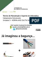 Técnico de Manutenção e Suporte Em Informática Cabeamento Estruturado Unidade 3 NORMA ANSI EIA_TIA 568
