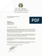 Carta de condolencias del presidente Danilo Medina a Maithripala Sirisena, presidente de Sri Lanka, por víctimas de explosiones de bombas