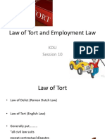 10. Law of Tort and Employment Law