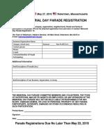 Parade - Memorial Day Parade Registration 2019