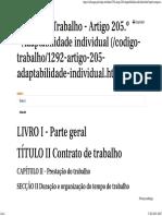 (Código Do Trabalho - Artigo 205.º - Adaptabilidade Individual)