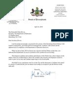 Letter regarding receivership