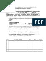 Acta de Compromiso de Operación y Mantenimiento de Parte de La Municipalidad Distrital de Quichuas