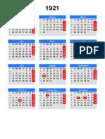 calendario 1921