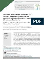 Best Suited Timing Schedule of Inorganic Npk Fertilizers