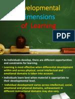 Developmental Dimensions of  Learning