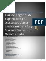 plan de negocios de exportacion de accesarios tipicos mexicanos de la region centro-sur