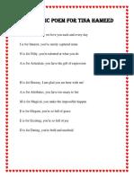 Acrostic Poem for Tina Hameed