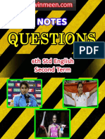 6th Std English 2nd Term 1 Mark 2 Mark Questions With Answer