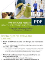 Pre Exercise Assessments Week 21