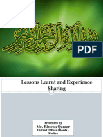 02 Lesson Learnt and Experience Sharing by CDG Multan