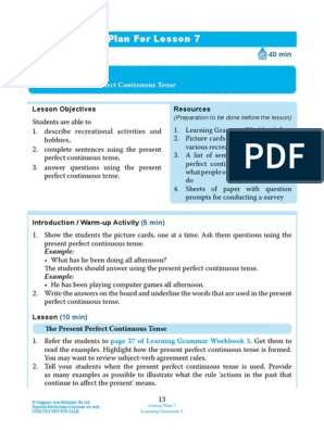 Present Perfect Progressive Lesson Plan | Question