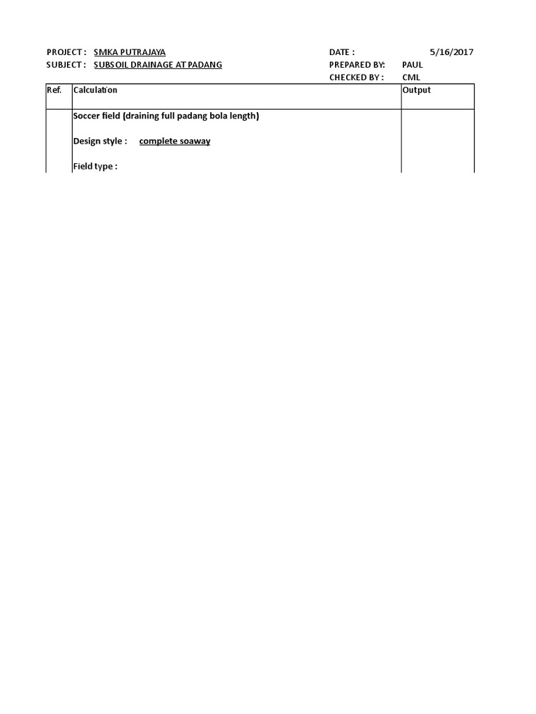 Calculation - Subsoil Drainage
