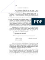 Secretary's Certificate of the Board Resolution-BLANK