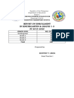 Maratudo Es Report on Enrollment in k to 3 Sy 2019-2020