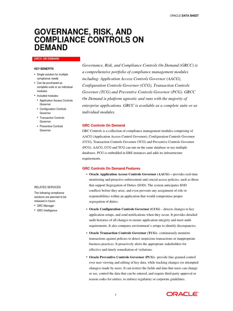 Oracle GRC | Regulatory Compliance | Oracle Corporation