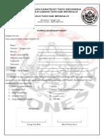 Blanko Pendaftaran Karate Bangki