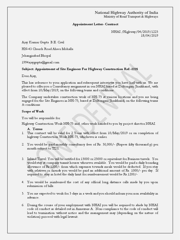 Appointment Letter | Rupee | Employment