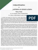 66. Antipaedobaptism; Or Infant-Baptism, An Innovation.