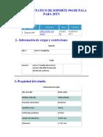 ANÁLISIS ESTÁTICO DE SOPORTE DE PALA