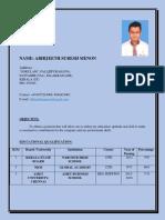 Share 'Abhijeeth s Menon Resume 123