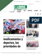 Medicamentos y Deportes, Las Prioridades de Cortizo Para Santiago de Veraguas - Metro Libre