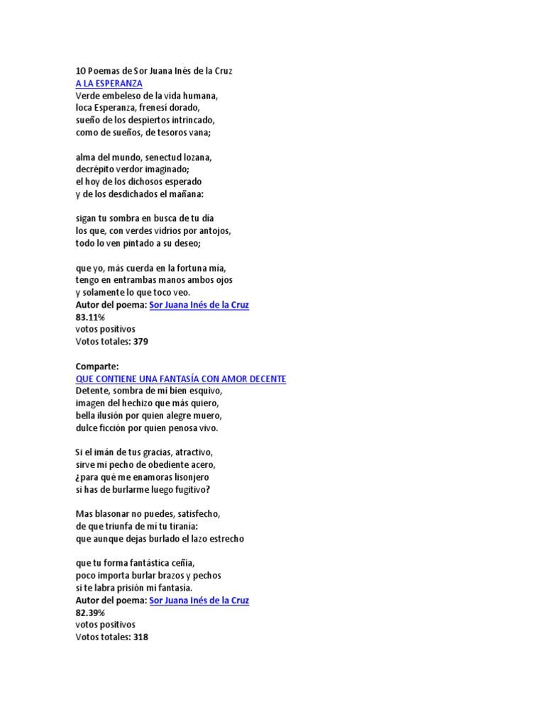 10 Poemas De Sor Juana Inés De La Cruz