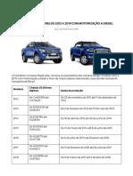Ford Ranger Modelos 2012 a 2019 Com Motorização a Diesel