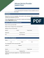 HCSP Complaint procedures and resolution