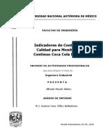 Informe de Indicadores de Control de Calidad para Monitoreo Continuo Coca Cola FEMSA
