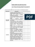 Cuestionario Inclusión Educativa