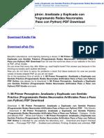 1 Mi Primer Perceptron Analizado y Explicado Con Sentido Practico Programando Redes Neuronales Artif B01MR540ZN