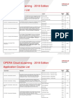 OPERA Cloud ELearning - 2018 Edition Application Course List